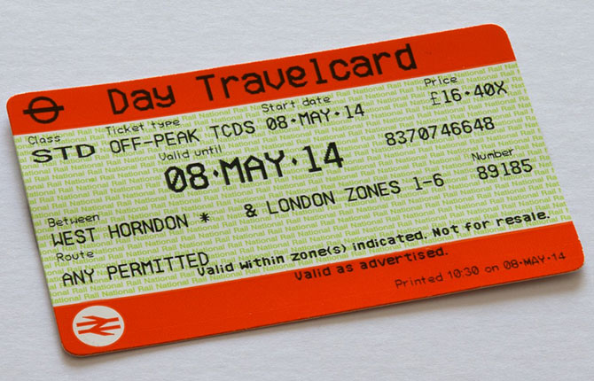 This is what a London Travelcard issued by National Rail looks like.