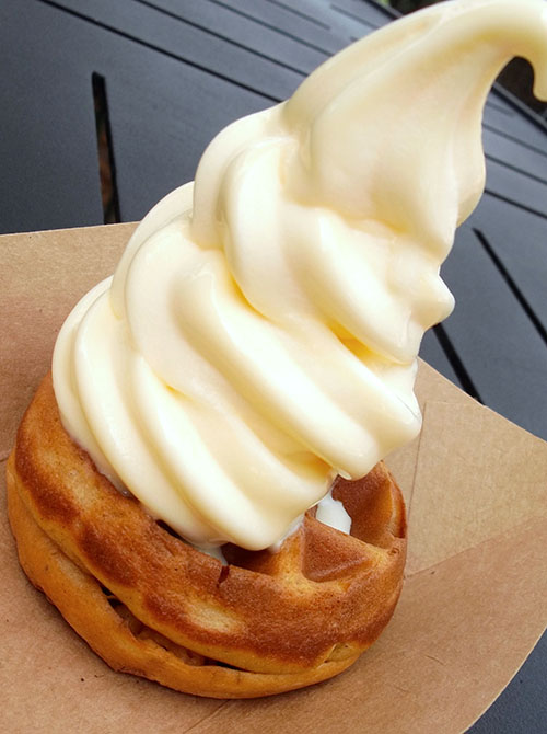 Sweet Potato waffle with Pineapple ice cream from Epcot in WDW. www.onepennytourist.com