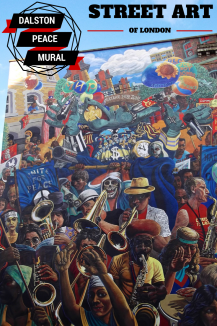 Celebrating street art and the story of 30th birthday of the Dalston Peace Mural in Hackney, East London.