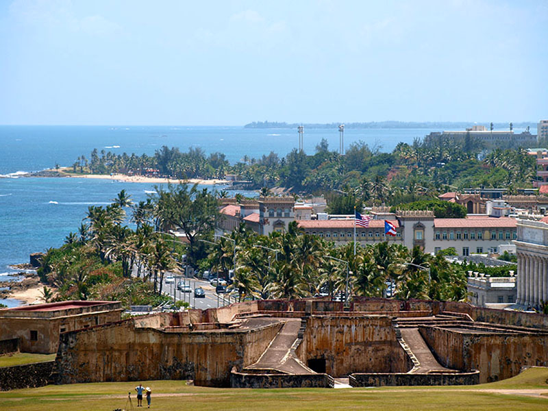 View of San Juan from Castillo San Cristobal ramparts. www.onepennytourist.com