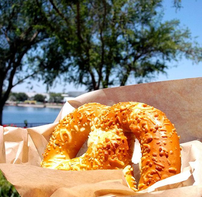 Jalepeno Cheese Stuffed Pretzel from Walt Disney World, Orlando, Florida. www.onepennytourist.com