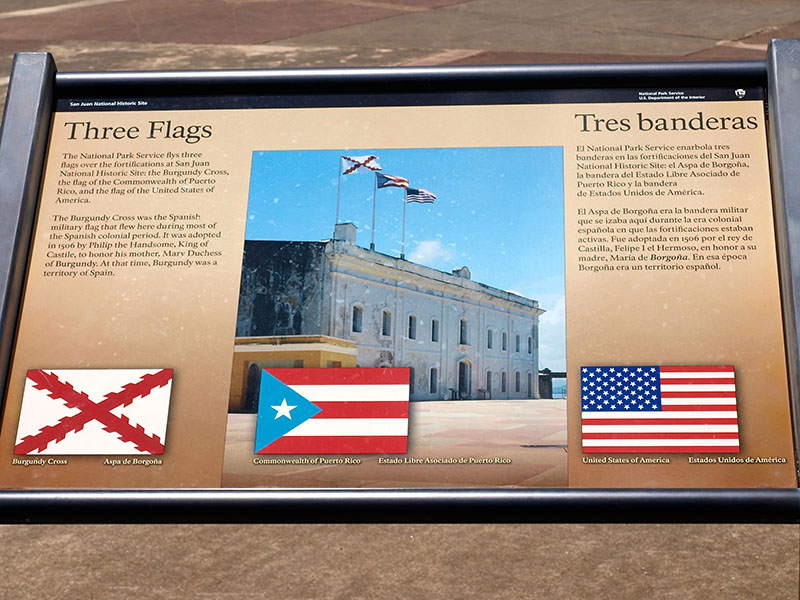 The story of the three flags of Castillo San Cristobal, San Juan. www.onepennytourist.com