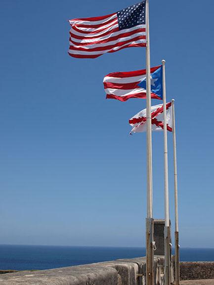 Three Flags San Cristobal close up at Castillo San Cristobal, San Juan. www.onepennytourist.com