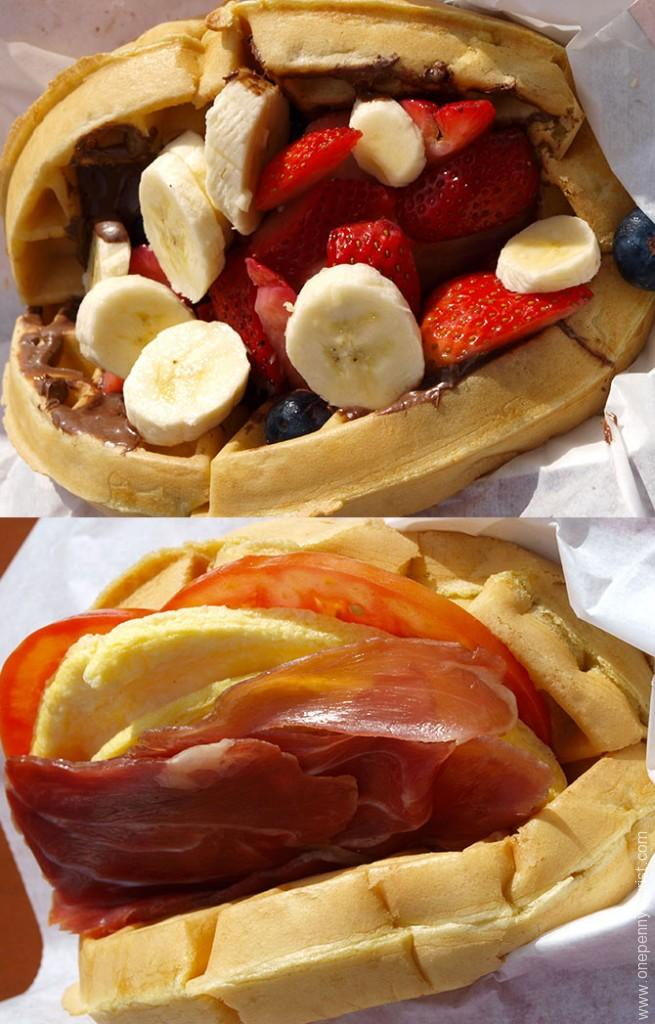 Top: Fruit and Nutella Waffle Sandwich - Nutella, bananas, strawberries and blueberries. Bottom: Breakfast Waffle Sandwich - Prosciutto ham, cheese, egg and tomato. From Magic Kingdom, Walt Disney World, Florida. www.onepennytourist.com