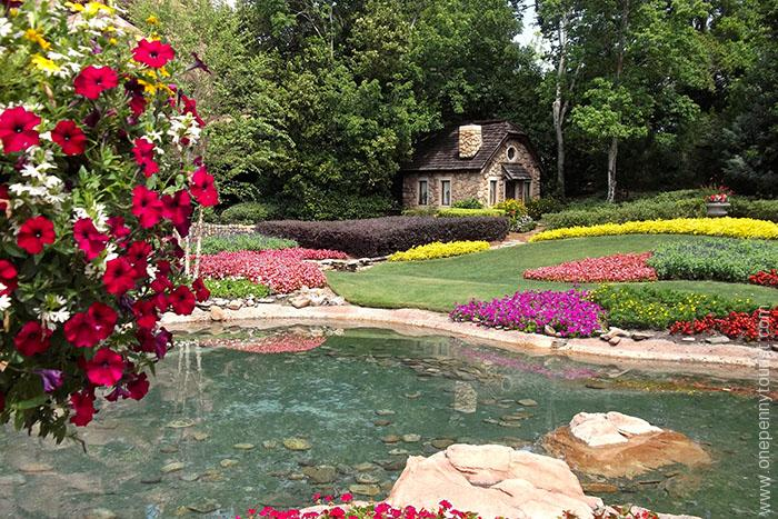 The garden at the Canada Pavilion outside Le Cellier in Epcot at Walt Disney World, Orlando Florida