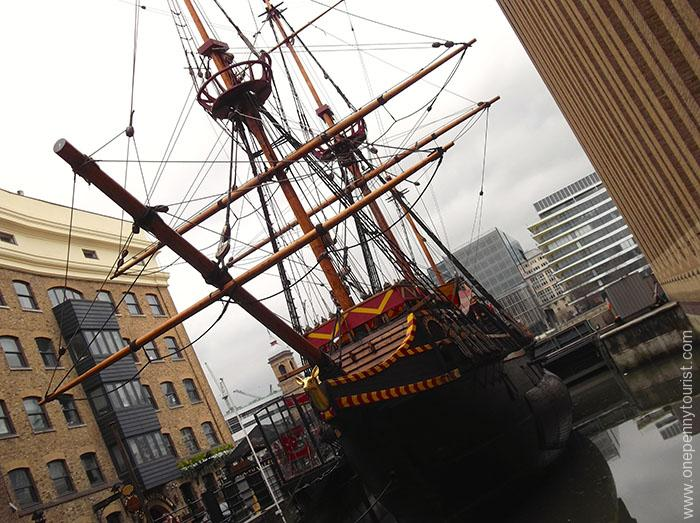 Replica of Sir Francis Drake's Golden Hind in St Mary Overie Dock on the South Bank of the Thames