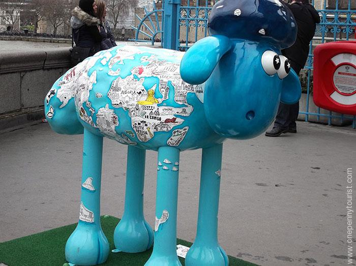 Mid-way across Tower Bridge is Globetrotter Shaun - part of the Shaun in the City Art Trail