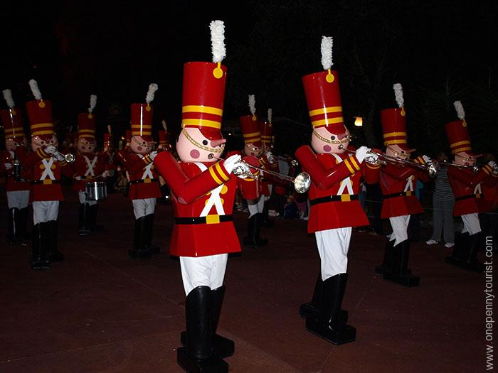 Tin Soldiers in Mickey's Very Merry Christmas Party Parade. The parade happens during the extra ticketed event at Magic Kingdom in Walt Disney World
