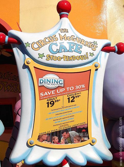 Signs explaining how the Universal Dining Plan - Quick Service option works, are found around the parks