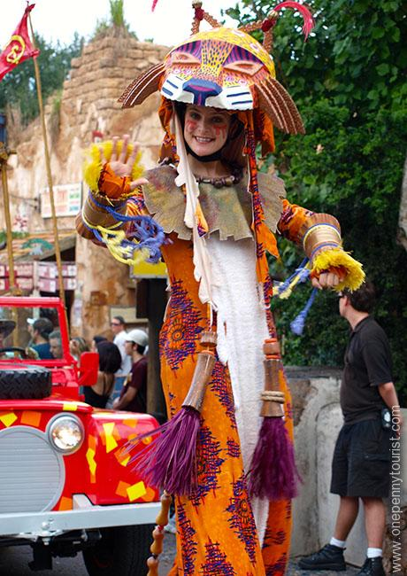 A 'Lion' taking part in Mickey's Jammin' Jungle Parade at Disney's Animal Kingdom in Walt Disney World. This parade has now finished.