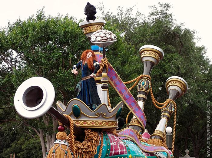 Merida in the Festival of Fantasy Parade in the Magic Kingdom at Walt Disney World