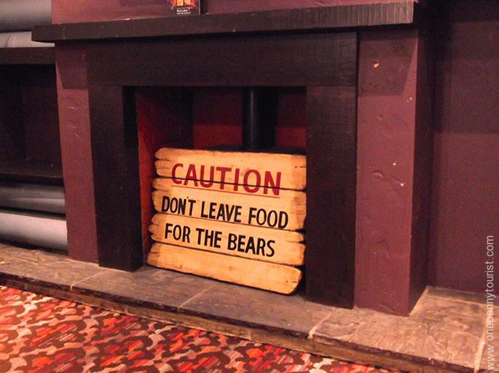 Amusing sign in The Maple Leaf pub fireplace in Covent Garden, London