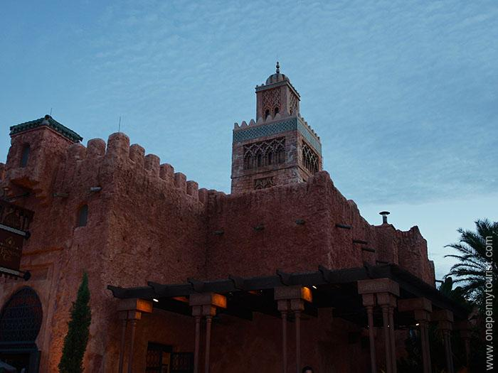 Morocco Pavilion at dusk in Epcot at Walt Disney World, Orlando, Florida
