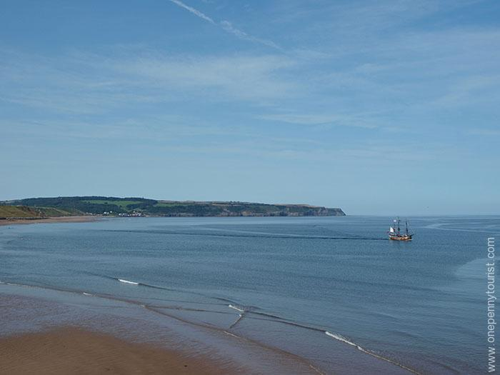 Whitby coast in North Yorkshire. Including pirate ship.