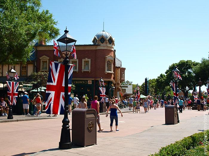 Making Disney memories - Union Jacks decorate the streets of the UK Pavilion in Epcot on the day of Will and Kate's Royal Wedding back in 2011