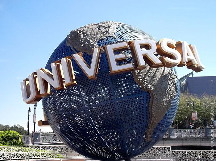 The iconic Universal Studios Orlando Globe in City Walk at Universal Orlando Resort in Florida