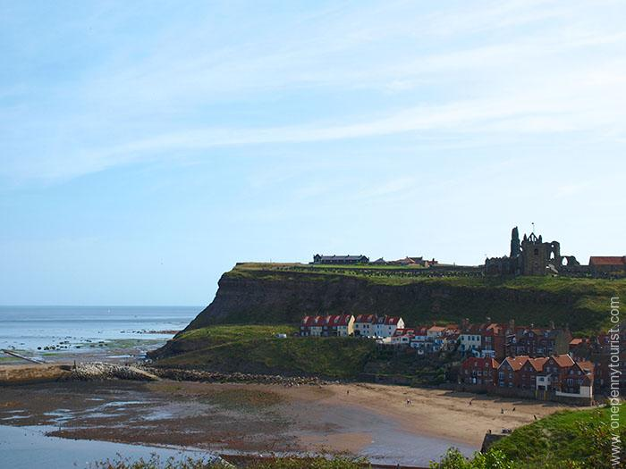 Looking across Whitby Harbour to the ruins of Whitby Abbey in North Yorkshire