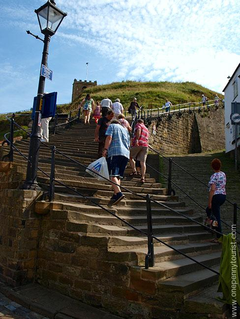 Steps on the East Cliff leading up to Whitby Abbey in North Yorkshire