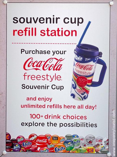 Coca Cola freestyle available at Universal Studios Orlando. Offering 100+ combinations of soft drinks!
