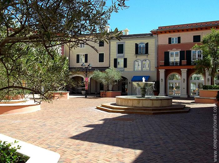 The Piazza view from the top of the steps at Portofino Bay Hotel at Universal Orlando