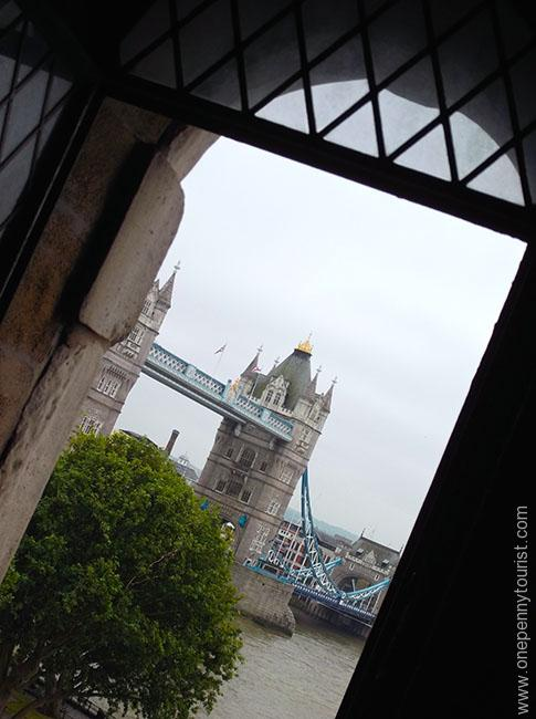 A view of Tower Bridge from the Keep in the Tower of London as we climbed the stairs onepennytourist.com