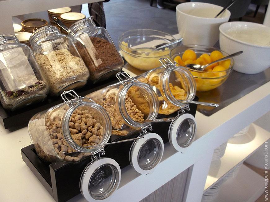 Absalon Hotel in Copenhagen - breakfast buffet cereals. OnePennyTourist.com