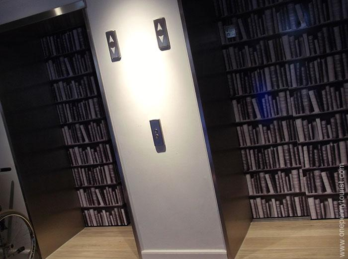 Absalon Hotel in Copenhagen. Lift doors disguised as book shelves. OnePennyTourist.com
