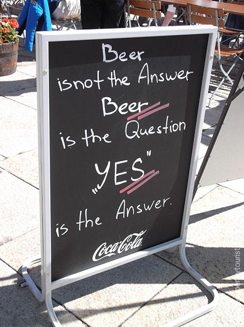 Oslo in 8 hours - Beer is not the answer - bar sign in Oslo, Norway. OnePennyTourist.com