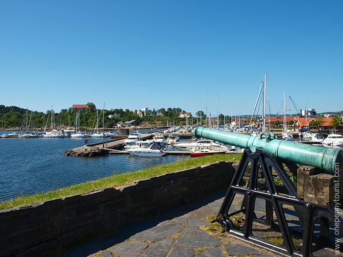 Christiansholm Fortress Cannon in Kristiansand Norway. OnePennyTourist.com