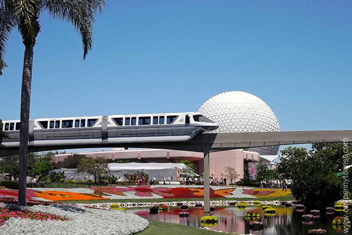 The Monorail in Epcot. Just one of the many forms of free transportation options at the Walt Disney World Resort. Tips for visiting Orlando - OnePennyTourist.com