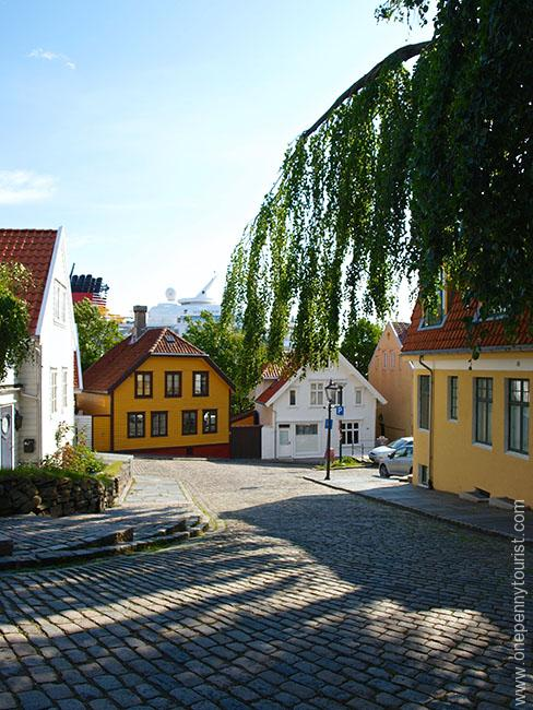 While most houses are white, there are a handful of the traditional colourful houses in Old Stavanger too. OnePennytourist.com