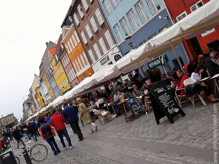 Even on an overcast day, Nyhavn in Copenhagen is full of colour. OnePennyTourist.com