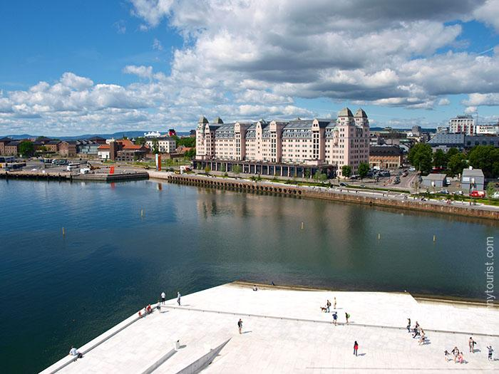 Oslo in 8 hours - View from Oslo Opera House roof, Norway. OnePennyTourist.com