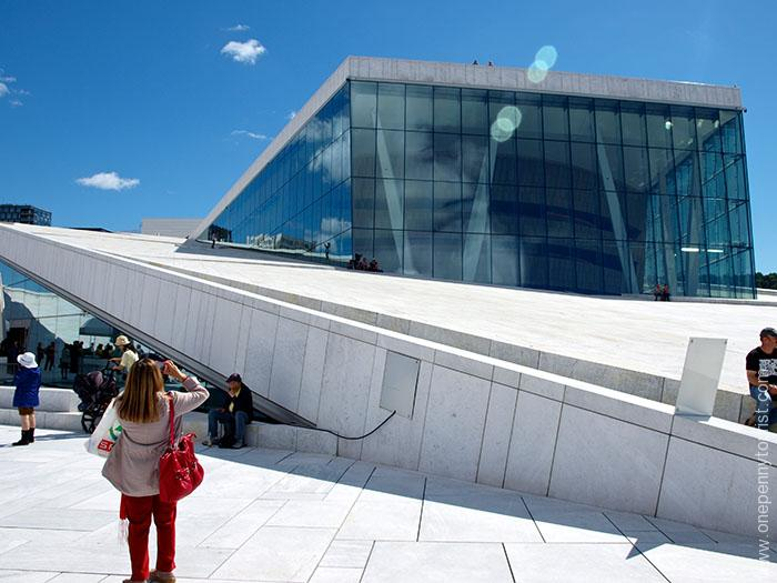 Oslo in 8 hours - Path to the rooftop at Oslo Opera House, Norway. OnePennyTourist.com