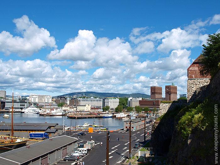 Oslo in 8 hours - Waterfront view of Oslo from Akershus Fortress, Norway. OnePennyTourist.com