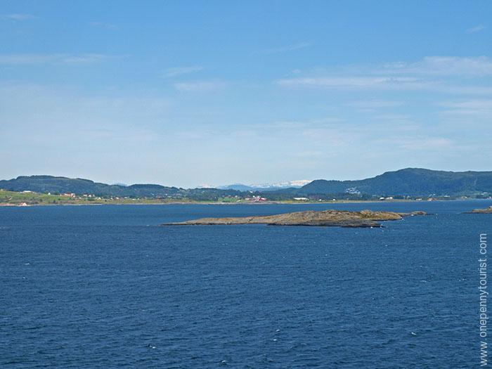 Mountain views as we sailed away from Stavanger Norway on our Disney Magic Nordic cruise. OnePennyTourist.com