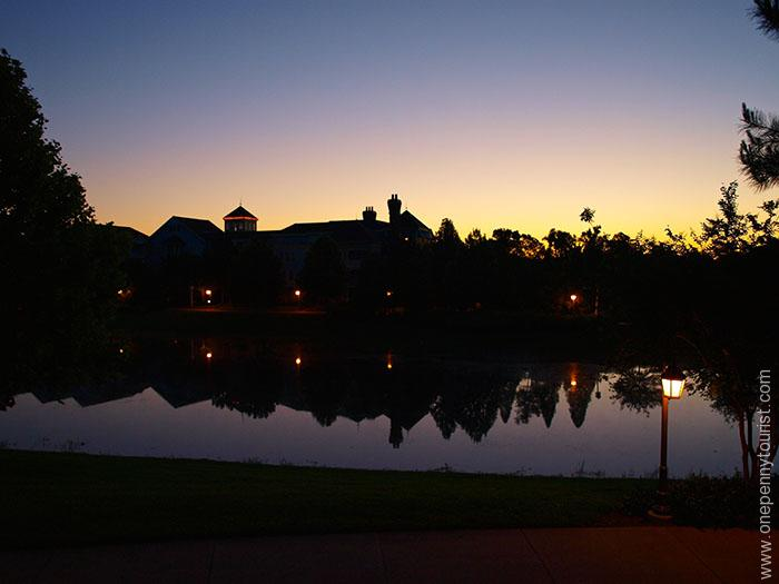 Sunrise at Saratoga Springs at Walt Disney World. Tips for visiting Orlando, Florida. OnePennyTourist.com