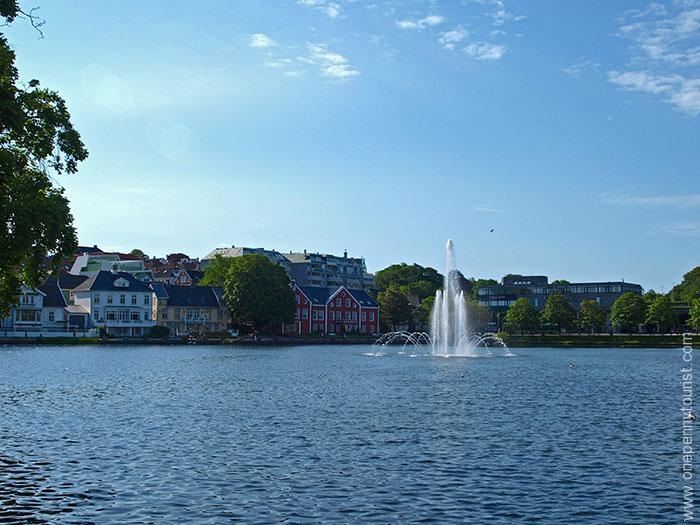 Park and lake beside Stavanger's historic cathedral. OnePennyTourist.com