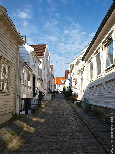 A day trip to Stavanger Norway - one of it's pretty side streets. OnePennyTourist.com