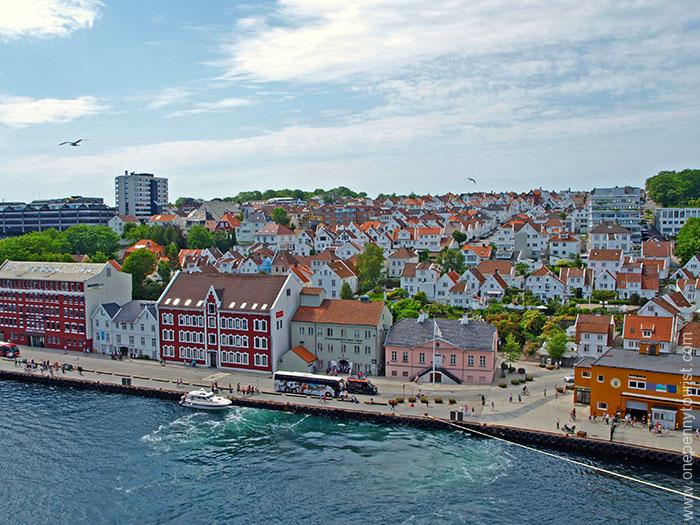 Old Stavanger from the decks of the Disney Magic on our Norway cruise. OnePennyTourist.com