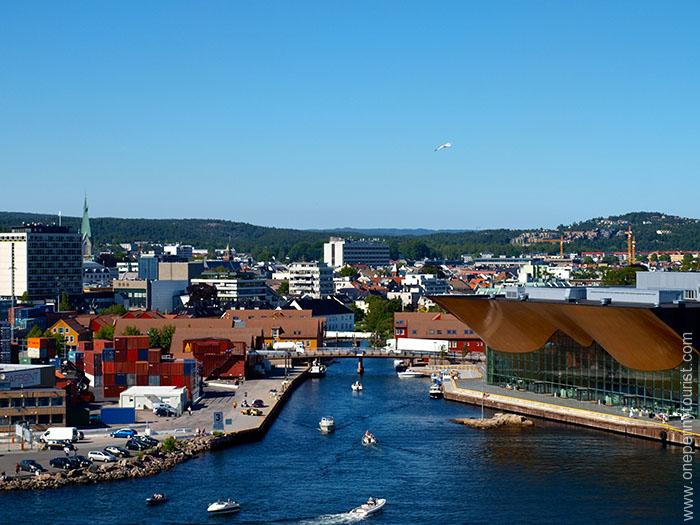 View of Kristiansand in Norway from the Disney Magic as she sails away. OnePennyTourist.com