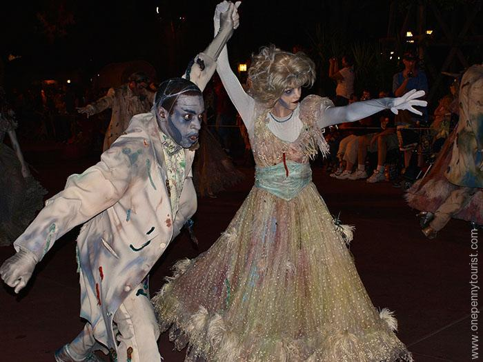 Dancing ghosts and ghouls in the Boo To You Parade, part of Mickey's Not So Scary Halloween Party in Walt Disney World's Magic Kingdom park. OnePennyTourist.com
