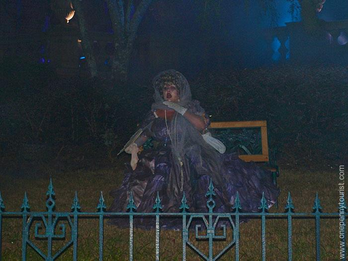 Chatty ghost outside the Haunted Mansion during Mickey's Not So Scary Halloween Party in the Magic Kingdom at Walt Disney World in Orlando, Florida. OnePennyTourist.com