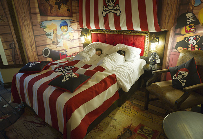 Legoland Pirate themed hotel room at Legoland Windsor, UK. Unusual hotels around the world at OnePennyTourist.com