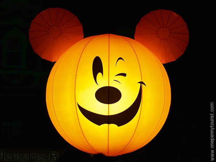 Part of the decoration for Mickey's Not So Scary Halloween Party in the Magic Kingdom are these giant Mickey head balloons! OnePennyTourist.com