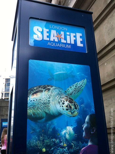 Sealife London Aquarium sign. OnePennyTourist.com