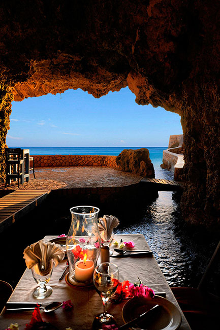 Built directly into a Jamaican cliffside in Negril. The Caves Hotel & Spa. Unusual hotels around the world at OnePennyTourist.com