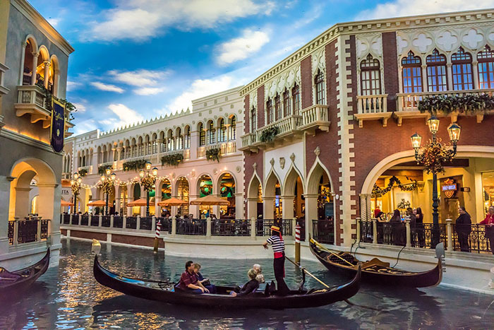 Gondolas at The Venetian Las Vegas, USA. Unusual hotels around the world at OnePennyTourist.com