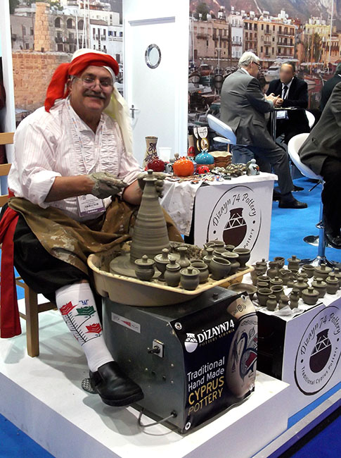 Live Potter and Wheel North Cyprus Stand, World Travel Market (WTM London 2015). OnePennyTourist.com