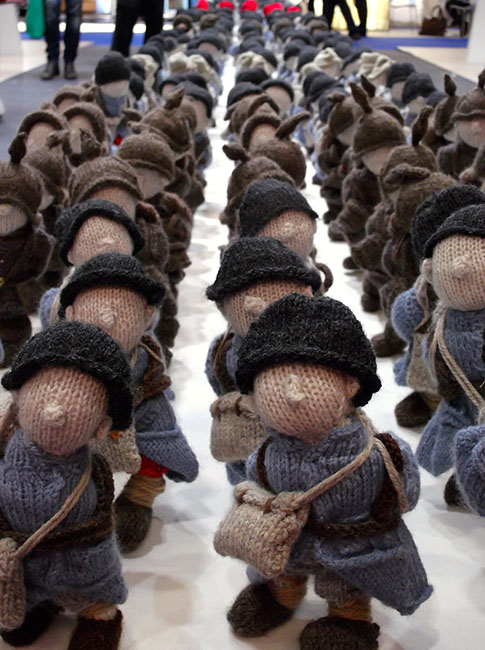 An army of woolen soldiers in Wool War One Travelling Exhibition commemorating the Centenary of WWI at the World Travel Market (WTM London 2015). OnePennyTourist.com